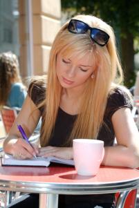 Foxy blonde writing